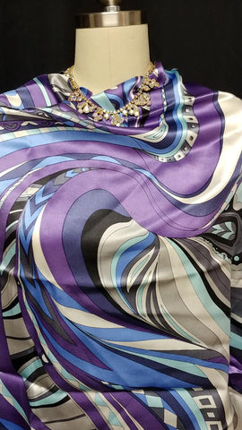 NEW - PUCCI INSPIRED VINTAGE 60s / 70S LOOK COLORS HAND MADE BORDER PRINT SCARF IN SILK SATIN IMPORTED FROM ITALY