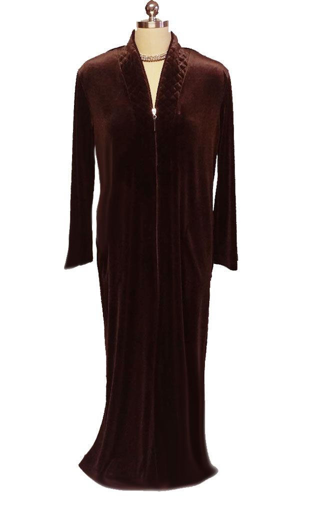 NEW - DIAMOND TEA LUXURIOUS ZIP UP FRONT VELOUR ROBE IN MINK - SIZE SMALL - I ONLY HAVE 1 IN THIS COLOR AND SIZE