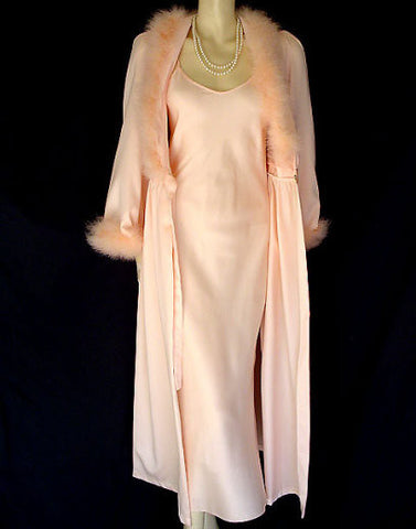 VINTAGE INTIME PEACHY PINK FLUFFY MARABOU PEIGNOIR & NIGHTGOWN SET