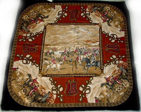 MADE IN ITALY BROWN & GOLD HORSES DOGS WITH BRAID HUNT SCENE SCARF