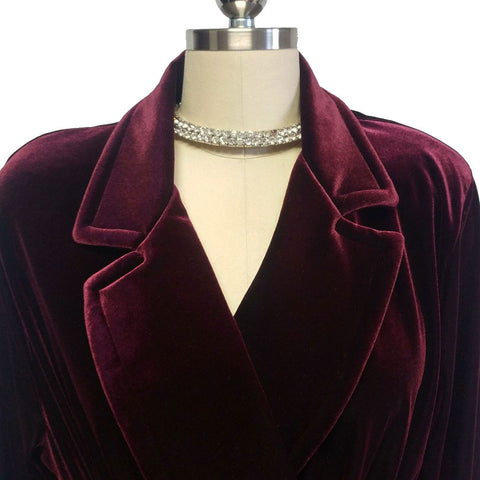 NEW - DIAMOND TEA LUXURIOUS WRAP-STYLE VELVET VELOUR ROBE IN CLARET - SIZE SMALL #2  - WOULD MAKE A WONDERFUL GIFT!