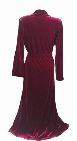 NEW - DIAMOND TEA LUXURIOUS WRAP-STYLE VELVET VELOUR ROBE IN CRIMSON - SIZE SMALL #2