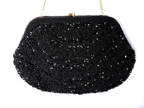 VINTAGE '60s / '70s GLAMOROUS HAND MADE SPARKLING BLACK BEAD & SEQUIN  EVENING BAG FROM HONG KONG