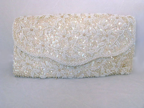 GORGEOUS VINTAGE SPARKLING BEADS, PEARLS & SEQUIN CLUTCH EVENING BAG - MADE IN HONG KONG