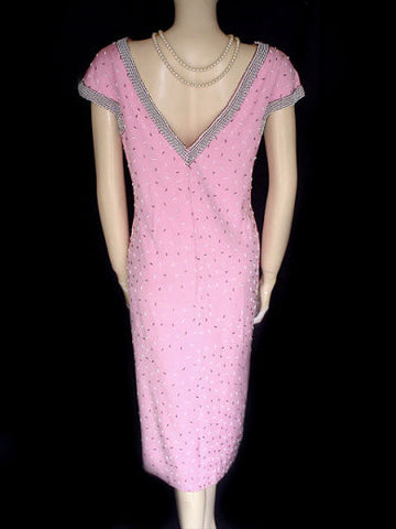 VINTAGE '50s GENE SHELLY PINK & BLACK BEADED RAYON DRESS - MADE IN HONG KONG