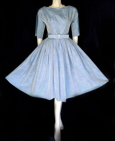 VINTAGE TAFFETA PARTY COCKTAIL DRESS WITH SPARKLING RHINESTONE BOW & METAL ZIPPER IN HEAVENLY BLUE