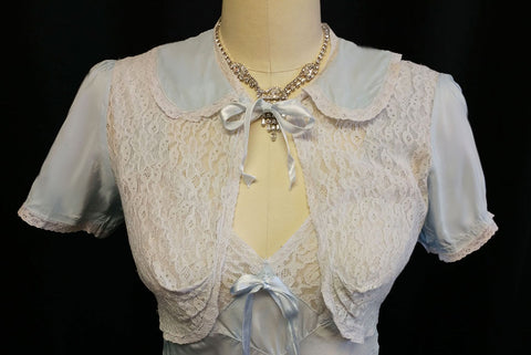 VINTAGE 1930s LACE BED JACKET AND BIAS NIGHTGOWN SET IN ANTIQUE BLUE