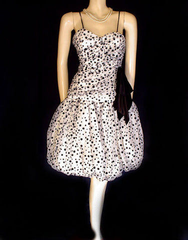 VINTAGE NANCY BRACCOLONI BLACK VELVET FLOCKED DOTS WITH SWEETHEART NECK BUBBLE BALLOON PARTY DRESS
