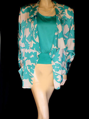 VINTAGE LILLIE RUBIN TURQUOISE & WHITE SILK TOP & JACKET SET