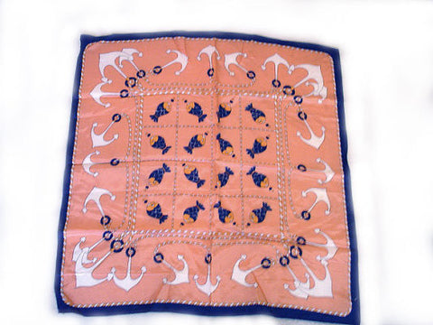 VINTAGE ADORABLE FISH & NAUTICAL ANCHOR & SAILORS' ROPE SCARF