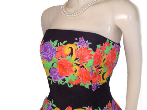 VINTAGE A. J. BARI CORAL & PURPLE ROSES STRAPLESS PARTY DRESS WITH ATTACHED CRINOLINE - SIZE 10