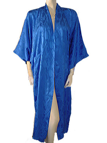 GORGEOUS GOLDEN DEER SILK ROBE PEIGNOIR IN MEDITERRANEAN BLUE - NEW WITH TAG