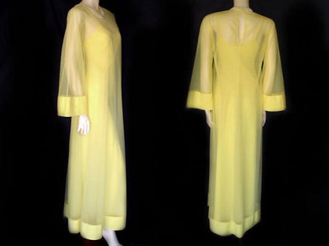 VINTAGE BLANCHE RALPH MONTENERO FLOATING PEIGNOIR & NIGHTGOWN  IN DAFFODIL
