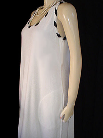 VINTAGE CALIFORNIA R O C WHITE & BLACK TERRY DRESS / LOUNGER / NIGHTGOWN