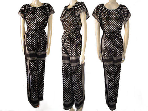 FROM MY OWN PERSONAL VINTAGE COLLECTION - VINTAGE SAINT TROPEZ WEST DOTS STRIPES PALAZZO PANTS & TOP SET