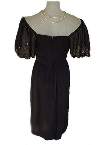 GORGEOUS VINTAGE VICTOR COSTA OFF THE SHOULDER SPARKLING SEQUIN EVENING DRESS