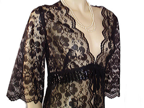 VINTAGE BLACK ALL LACE PEIGNOIR SPARKLING SEQUINS WITH BOW