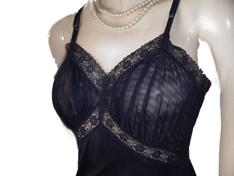 VINTAGE LACE & SHEER NYLON SLIP WITH LARGE SHEER NYLON & LACE FLOUNCE IN MIDNIGHT NAVY
