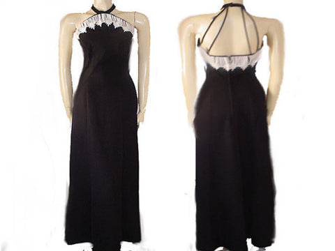 HOUSE OF BIANCHI DAISY BLACK CREPE EVENING GOWN WITH A BEAUTIFUL BACK - NEW WITH TAG