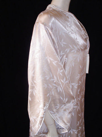 VINTAGE VALENTINO LATTE & BAMBOO SATIN DRESSING GOWN PEIGNOIR - NEW W TAG - WOULD MAKE A WONDERFUL GIFT