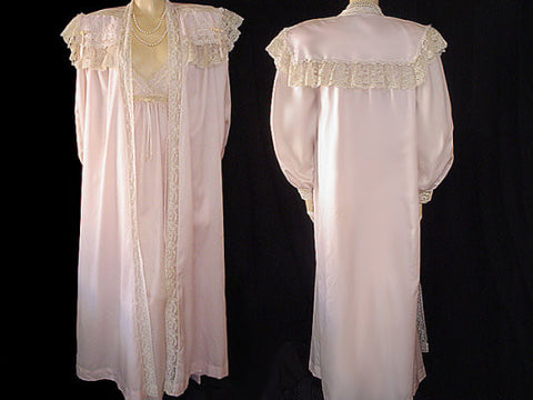 FROM MY OWN PERSONAL COLLECTION - GORGEOUS VINTAGE VICTORIAN LOOK CHRISTIAN DIOR LACE PEIGNOIR & NIGHTGOWN SET DRIPPING WITH VINTAGE LACE, SATIN RIBBONS  & EMBROIDERY IN DUSTING POWDER - EXTRA LONG