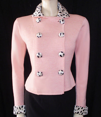 ZANG TOI PINK SWEATER ADORNED WITH BLACK DOT DOME BUTTONS