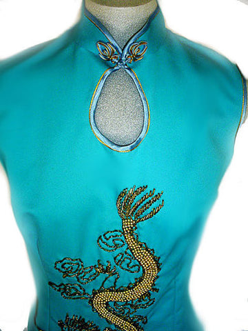 VINTAGE ASIAN BEADED DRAGON EVENING GOWN & COAT SET WITH METAL ZIPPER & HAND STITCHING