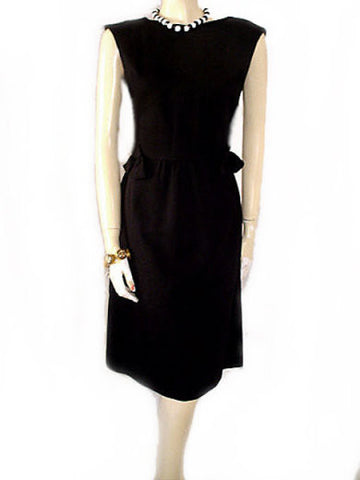VINTAGE '50s RICHARD FRONTMAN BLACK PIQUE DRESS ADORNED WITH BOWS & A METAL ZIPPER