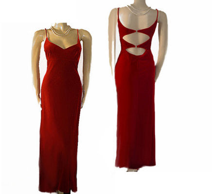 SOLD - VINTAGE '90s NIKI LIVAS SCARLET SPANDEX VELVET SPARKLING RHINESTONE EVENING GOWN WITH A GORGEOUS OPEN BACK - PERFECT FOR THE HOLIDAYS OR VALENTINE'S DAY