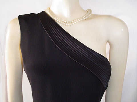 ARMANI COLLEZIONI MADE IN ITALY BLACK ONE-SHOULDER GODDESS COCKTAIL DRESS