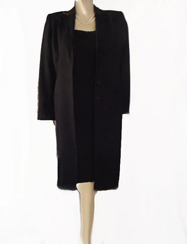 BEAUTIFUL RALPH LAUREN BLACK SPARKLING BEADED WOOL COAT & DRESS OUTFIT