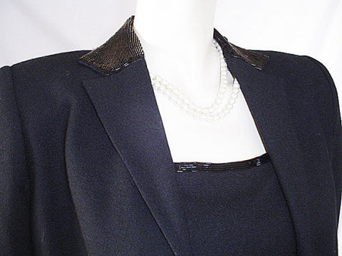 BEAUTIFUL RALPH LAUREN BLACK SPARKLING BEADED WOOL COAT & DRESS ENSEMBLE