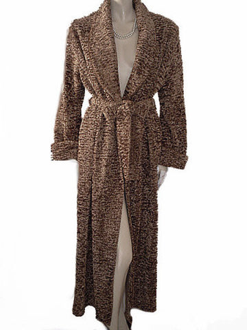 NEW - RARE LUXURY DIAMOND TEA CHENILLE WRAP-STYLE ROBE IN OATMEAL - MEDIUM / SMALL