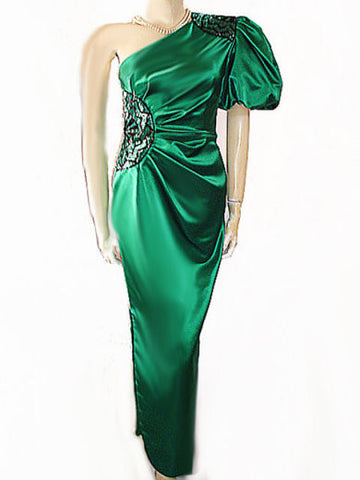 VINTAGE MISS BERGDORF FROM BERGDORF GOODMAN EMERALD SATIN ONE-SHOULDER GODDESS EVENING GOWN WITH ART DECO DESIGN