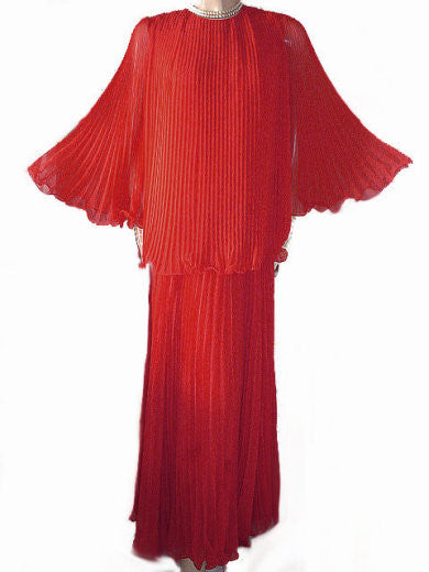 VINTAGE JR BOUTIQUE HUGE GRAND SWEEP HOLIDAY RED CRYSTAL PLEATED CHIFFON EVENING OUTFIT -  PERFECT FOR THE HOLIDAYS OR VALENTINE'S DAY