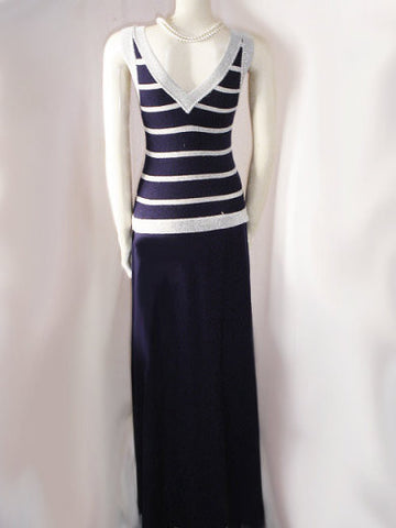 GLAMOROUS VINTAGE 1960s SPARKLING SILVER LUREX LAME & NAVY KNIT EVENING GOWN