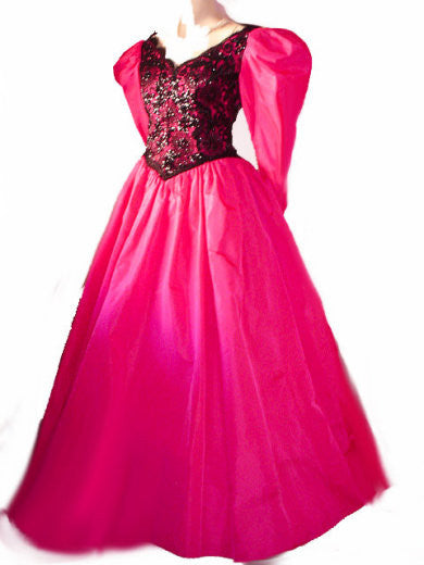 VINTAGE VICTOR COSTA HOT PINK & BLACK EYELASH LACE SEQUIN TAFFETA EVENING GOWN / BALL GOWN