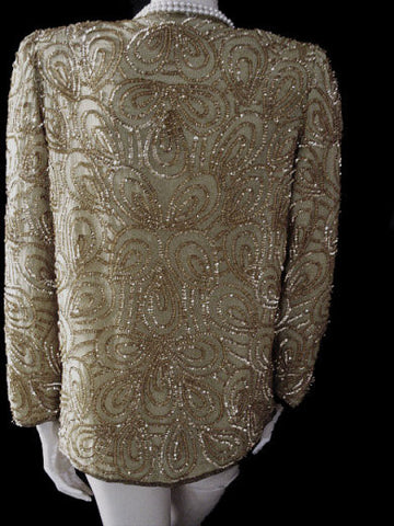 SPARKLING DENISE ELLE SEQUIN & BEADED SILK EVENING JACKET FOR THE HOLIDAYS