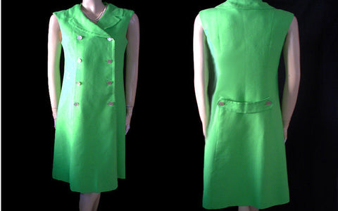 VINTAGE I. MAGNIN LUSCIOUS LIME LINEN PRINCESS LINES SPRING / SUMMER DRESS