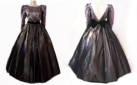 VINTAGE SEQUIN, BLACK VELVET & TAFFETA GRAND SWEEP BALL GOWN IN STERLING SILVER