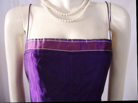 VINTAGE VICTOR COSTA FOR NEIMAN MARCUS SILVER, MULBERRY & PURPLE EVENING BALL GOWN