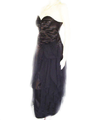 VINTAGE 50s SWEETHEART BLACK SATIN & CHIFFON STRAPLESS EVENING GOWN WITH METAL ZIPPER