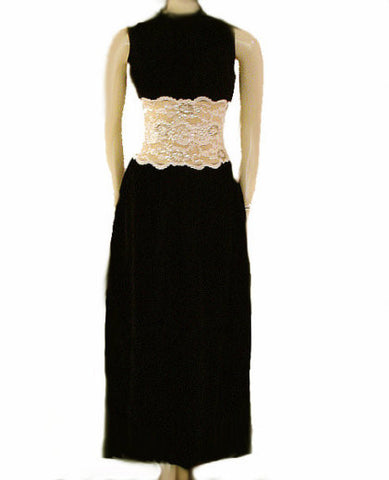 GORGEOUS VINTAGE BLACK VELVET & NUDE LACE EVENING GOWN ENCRUSTED WITH SPARKLING SEQUINS & BEADS - METAL ZIPPER - PERFECT FOR A CHRISTMAS PARTY