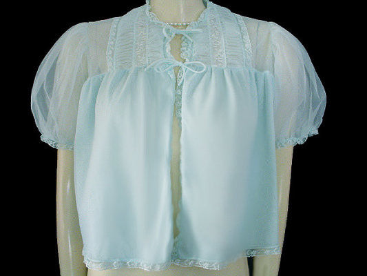VINTAGE SNOWDEN BLUE PLEATED LACE RUFFLE BED JACKET - SIZE MEDIUM