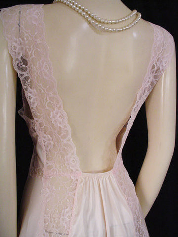 VINTAGE VAL MODE EXQUISITE STRIPS OF SHEER LACE NIGHTGOWN IN DREAMS OF LACE