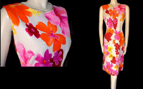 VINTAGE CHARLOTTA HOT PINK & TANGERINE HIBISCUS DRESS WITH METAL ZIPPER