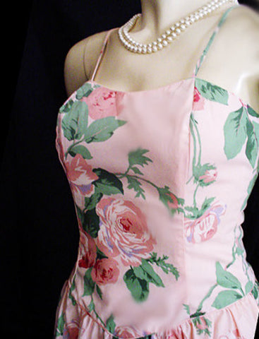 VINTAGE SUNSHINE STARSHINE NEARLY STRAPLESS PARTY DRESS WITH A GREAT LACED BACK IN CHINA ROSE