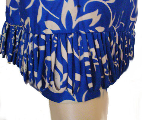 VINTAGE JANET LYNN COTTON THISTLE & FLORAL DRESS IN MEDITERRANEAN BLUE & WHITE WITH LOOPED FRINGE HEM