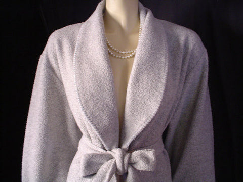 DIAMOND TEA FROM SAKS FIFTH AVENUE PRE-OWNED WRAP-STYLE COTTON ROBE IN TAHITIAN PEARL - SIZE MEDIUM
