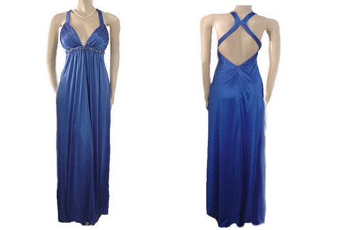 "GODDESS LOOK BEADED, RHINESTONE & BLUE PEARLS EVENING GOWN WITH A FABULOUS ""X"" BACK"